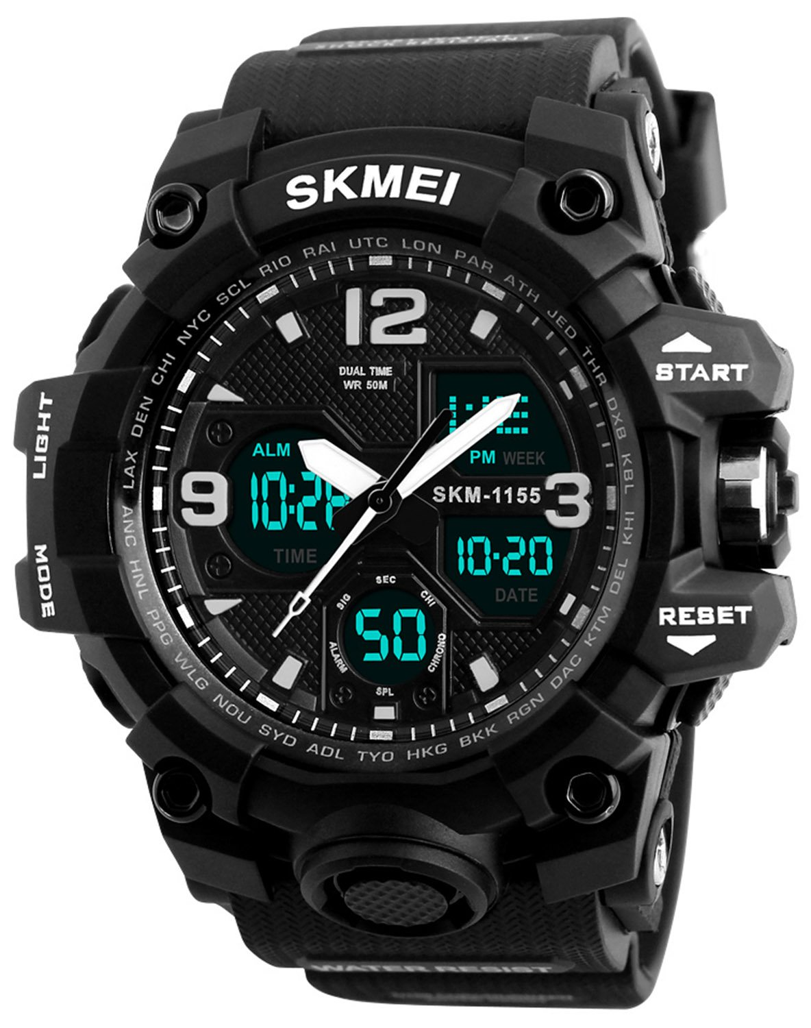 Men's Analog Digital Waterproof Sports Watch Military Multifunction Dual Time Stopwatch Alarm Back Light 50M Water Resistant Watch (Black)