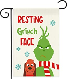 DSWEESUN Grinch Christmas Garden Flag 12.5 x 18 Inch Double Sided, Grinch Christmas Decor Premium Durable Farmhouse Winter Flags,Holiday Party Lawn Yard Outdoor Decorations