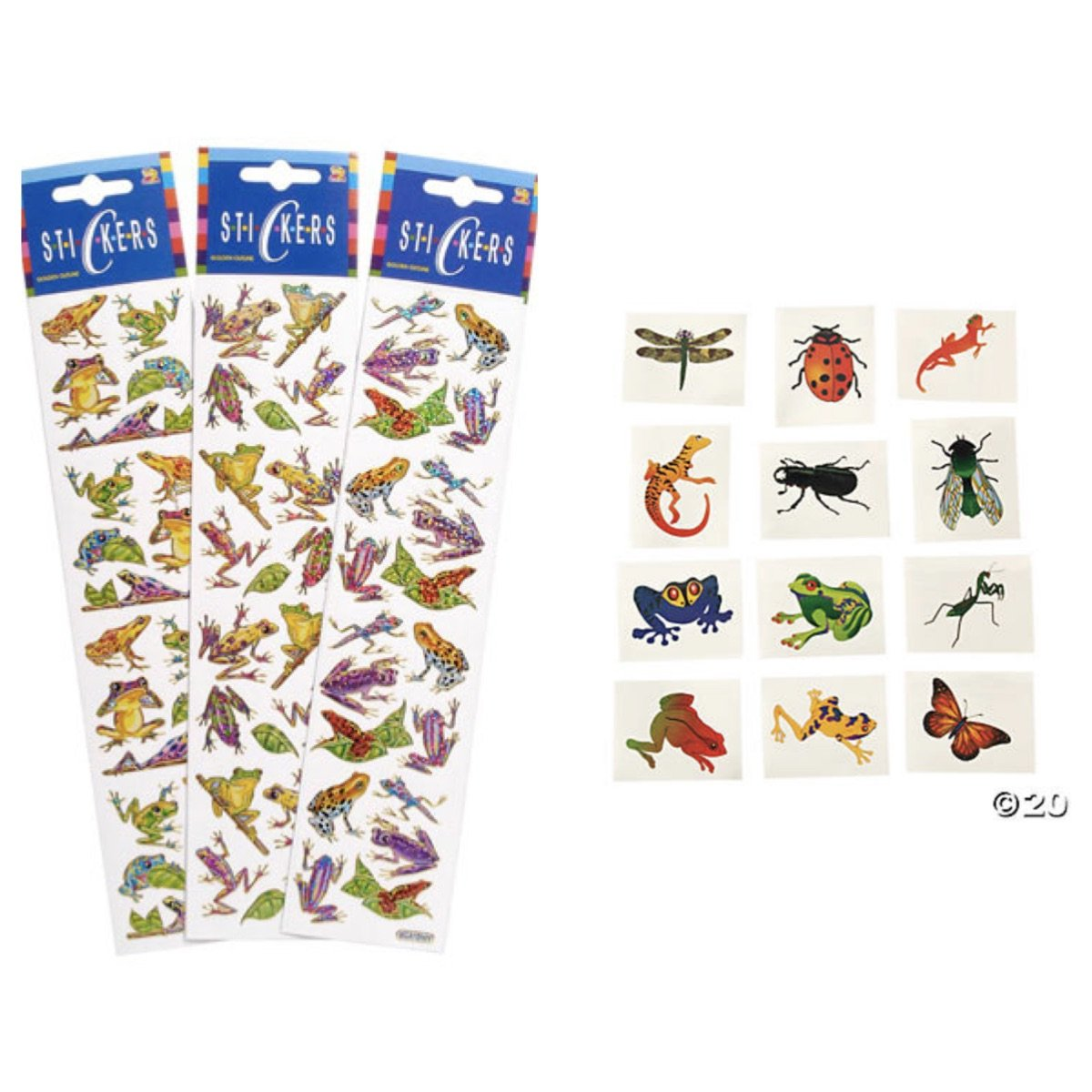 Just4fun - Awesome BUG Frog Reptile - Party Favors - 240 Stickers (12 Sheets of 20) & 72 TATTOOS Insects REPTILES Frogs SCIENCE Teachers CLASSROOM Rewards Incentive