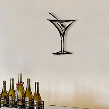 Amazon Com Straight Martini Wall Art Black Metal Wall Art
