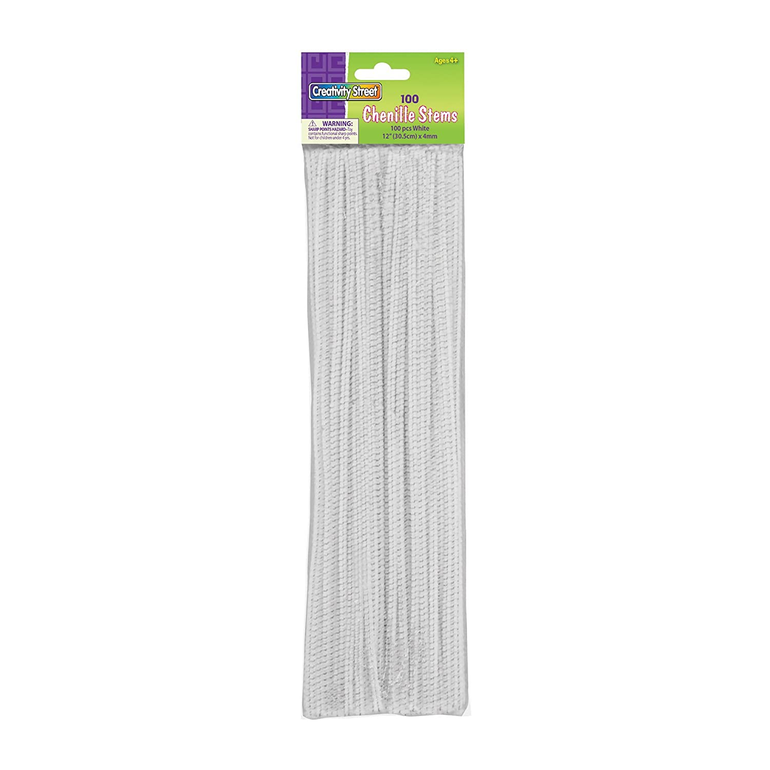 White Creativity Street Chenille Stems//Pipe Cleaners 12 Inch x 4mm 100-Piece