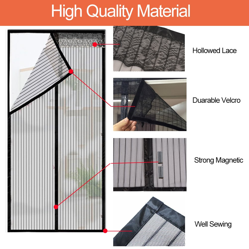 Magnetic Screen Door Auto Snap Shut 35x82 with Full Frame Velcro Anti Mosquito and Insect Easy Go Through Screen Door Mesh Black