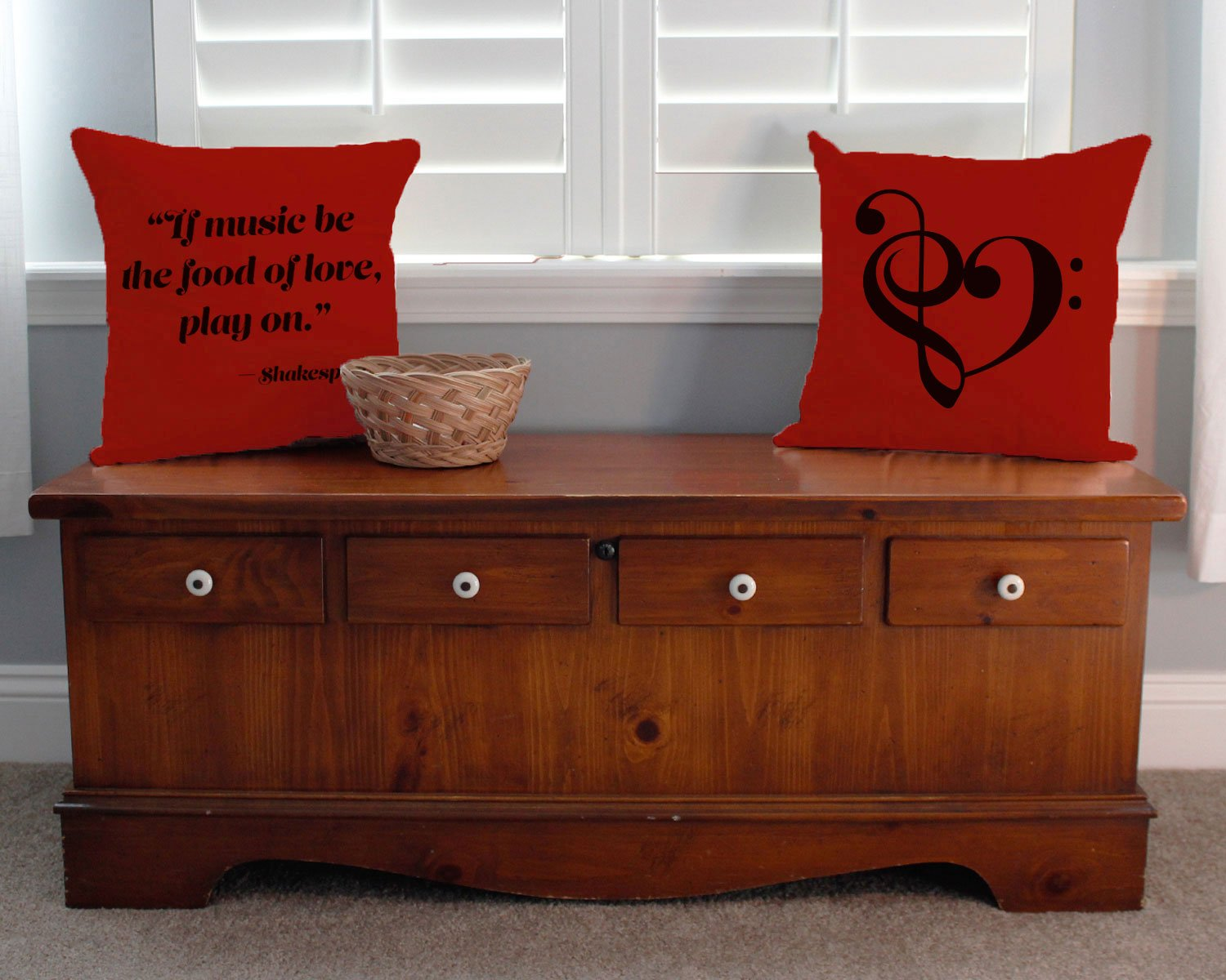 Set of 2 RoomCraft Music is the Food of Love Throw Pillows 20x20 Square Red Cotton Shakespeare Quote Cushions by RoomCraft (Image #2)