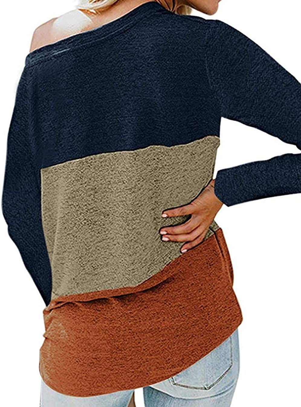 LET Ladies Long Sleeve T-Shirt Top Sweatshirt Round Neck Top Color Block Top Pullover A-navy