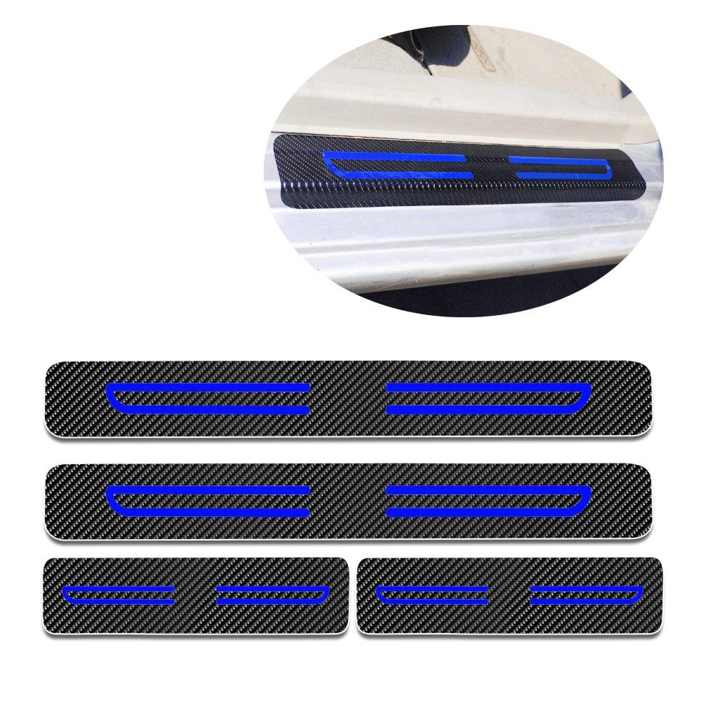Carbon Fiber Door Sill Scuff Pedal Proteggi Car Styling Sticker soglia di copertura Nastro riflettente ad alta intensit/à Blu per 2007-2012 MINI Cooper 4 pezzi