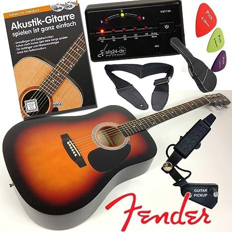 Fender Squier Juego de Western Guitarra acústica, en forma de Dreadnought, color sunburst con bufanda orificio