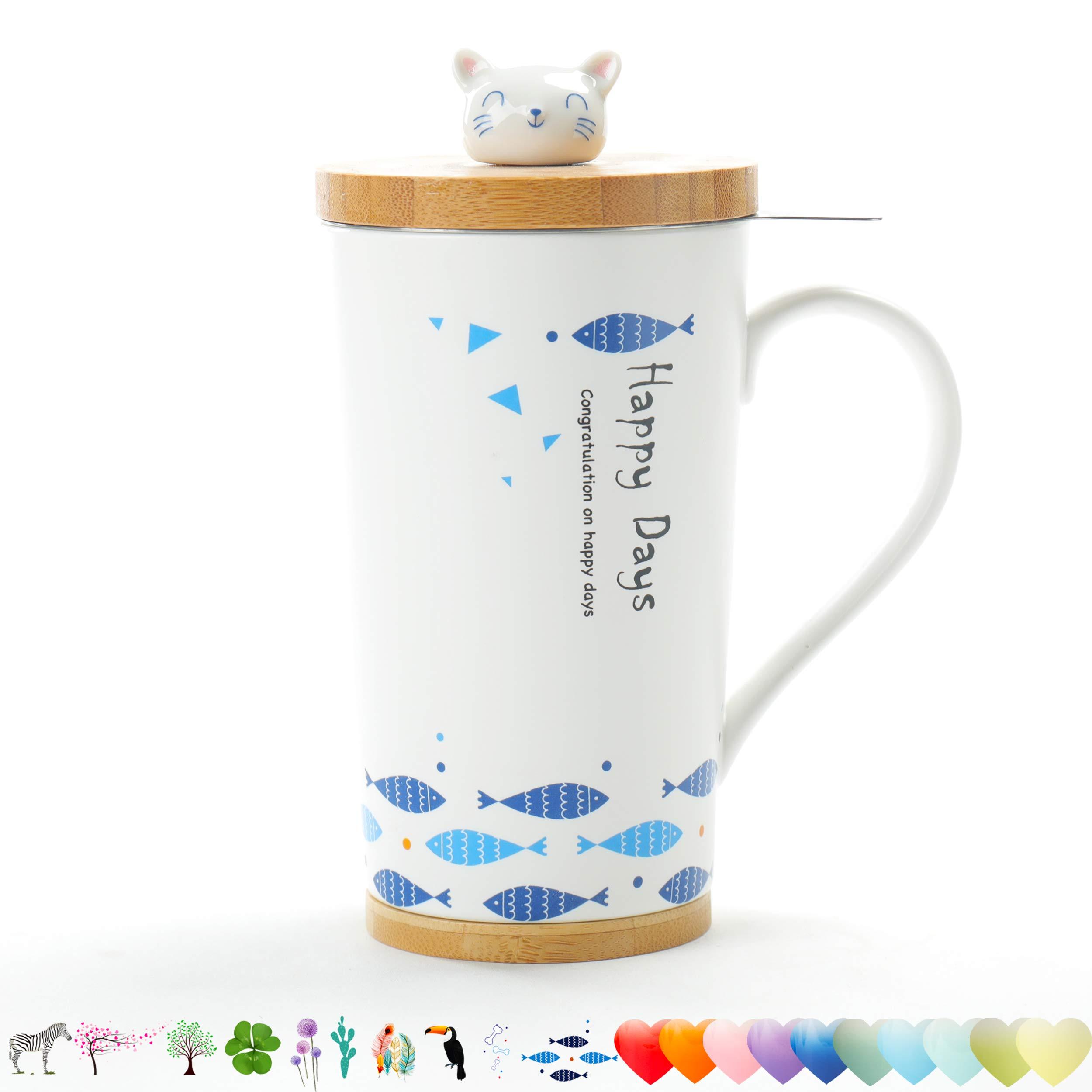 TEANAGOO M58-6 Tea Cup with Filter and Lid, 18 OZ, Cat, Mom Dad Women Teaware with Infuser, Tea Mug Steeper Maker, Brewing Strainer for Loose Leaf Tea, Diffuser mug set for Lover Gift teacup Porcelain by TEANAGOO