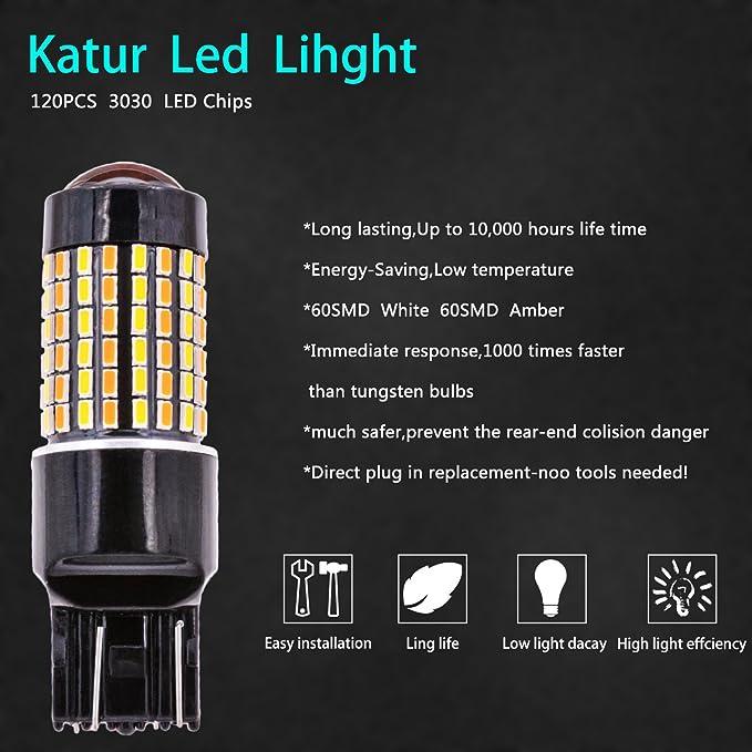 KaTur 2 St/ück 800LM 7443 7444NA 7440 7440NA 992 Gelb//Wei/ß Switchback Gelb-Aus-Gelb-Aus Blinkergl/ühlampen 3014-120SMD Linsenbremslichtlampe mit 50W 8 Ohm Lastwiderst/änden