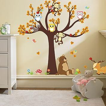 Facai Wandtattoo Großer Baum With Owl Affe Bär Elch Fröhliche