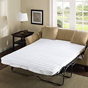 Madison Park Essentials Frisco-Fine Quality Sofa Bed Mattress Pad-Waterproof Back To Protect Mattress-60x72-White