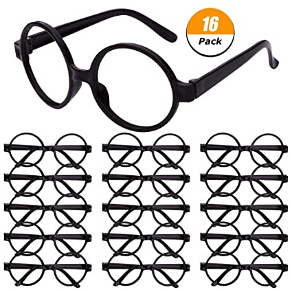 f6bd9ac6e7 Image Unavailable. Image not available for. Color  DSSY 16 Pieces Plastic  Wizard Glasses Round Glasses Frame No Lenses for Children s Halloween  Costume ...