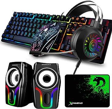 Juego de Alfombrillas de ratón y Teclado para Juegos con Cable y Auriculares para Juegos con retroiluminación y Altavoz RGB Negro,5 en 1,Teclado, ...