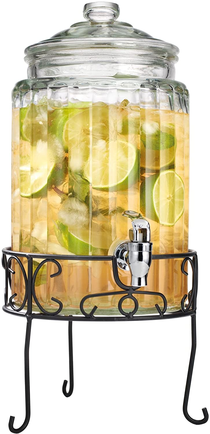 Beverage Dispenser - Decorative Ribbed Design with Stand, 1.5 gal