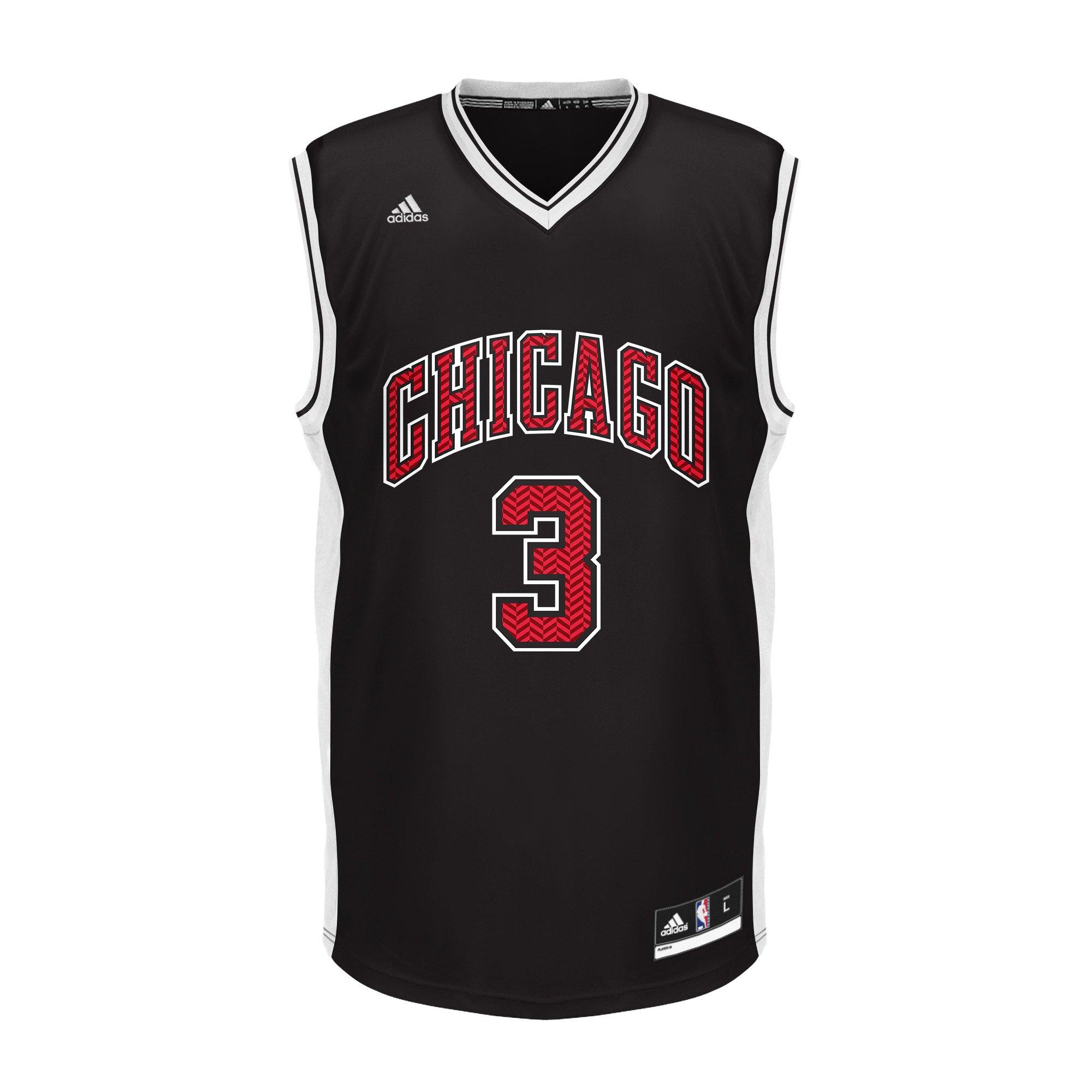 sports shoes 0411b 1f99c NBA Unisex Chicago Bulls Dwayne Wade Chevron Fashion Replica Jersey,  X-Large, Black