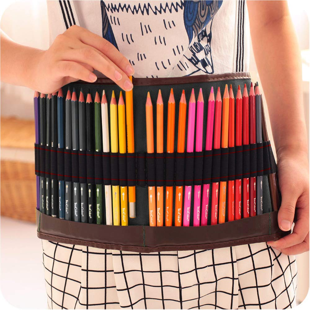 Hysagtek 48 Canvas Roll-Up Pencil Wrap Bag Pouch Multipurpose Pencil Case Pencil Pocket Holder Organizer for School Office Artist Hobbyist