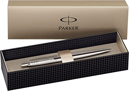 encre noire Parker Jotter Stylo-bille en acier inoxydable avec d/étails chrom/és coffret cadeau