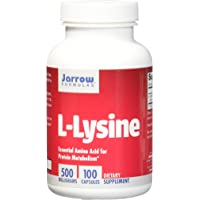 Jarrow Formulas L-Lysine, Essential Amino Acid for Protein Metabolism, 500 Mg, 100 Caps