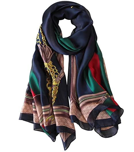 a214267833 NUWEERIR Womens 100% Mulberry Silk Scarf Long Satin Scarf Fashion Designer  Scarf Lightweight Neck Wear