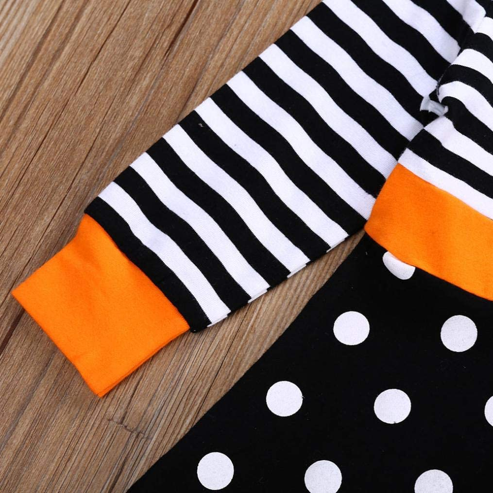 Adorable Ruffle Cat Long Sleeves Top Shirt Stripe Pants 2PCS Princess Clothes Little Baby Girls Halloween Costumes