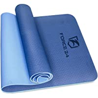 Force24 Pro Grip Yoga Mat 6mm Extra Thick TPE Material Yoga mat Non-Slip Eco Friendly Fitness Mat with Carry Bag and Carry Strap