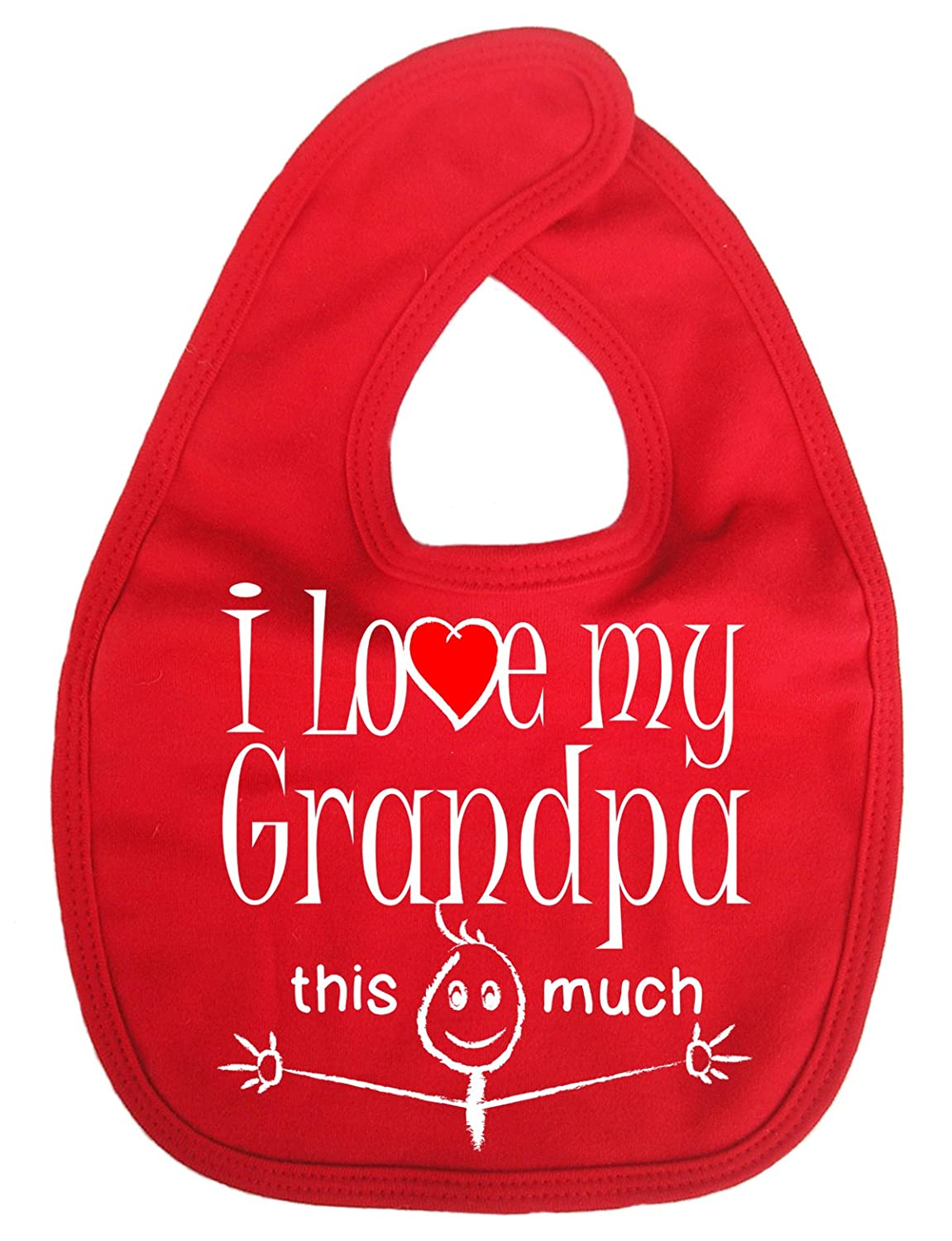 Dirty Fingers, I love my Grandpa this much, Baby Unisex Bib, White DFBIBgrandpamuchW