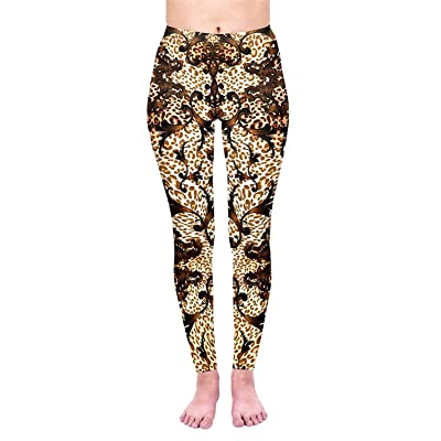 Aventy Women's Ultra Soft Full-Length Elastic Leopard Print Gradual Change Stretchy Ankle Elastic Tights Leggings (Lightornate Leopard, One Size) at Amazon Women's Clothing store