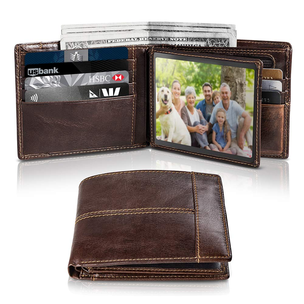 Men's Genuine Leather Bifold Slim Wallet RFID Blocking Secure with ID Window 16 Crad Holder Gift Box (Brown)