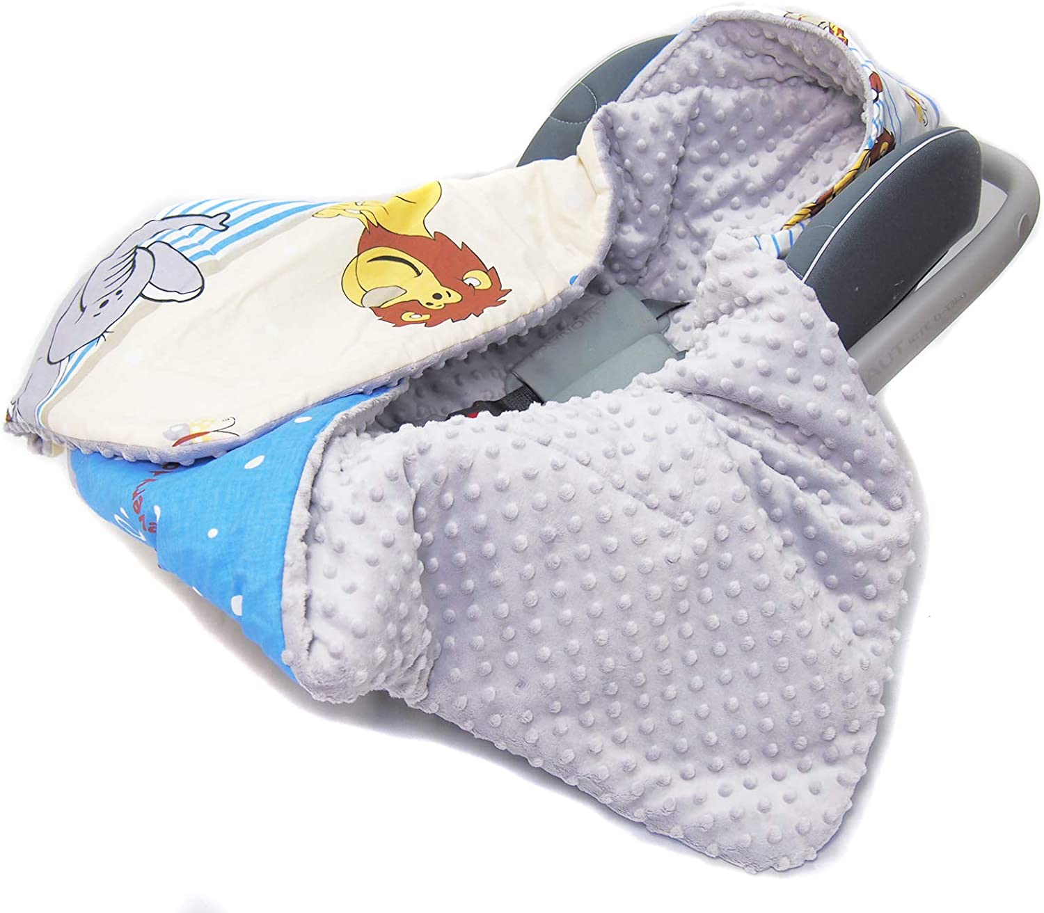COSYTOES White Elephants on Grey with Cream Minky COVER PUSHCHAIR BLANKET Hooded CAR SEAT PADDED BABY BLANKET Reversible Cotton//Minky