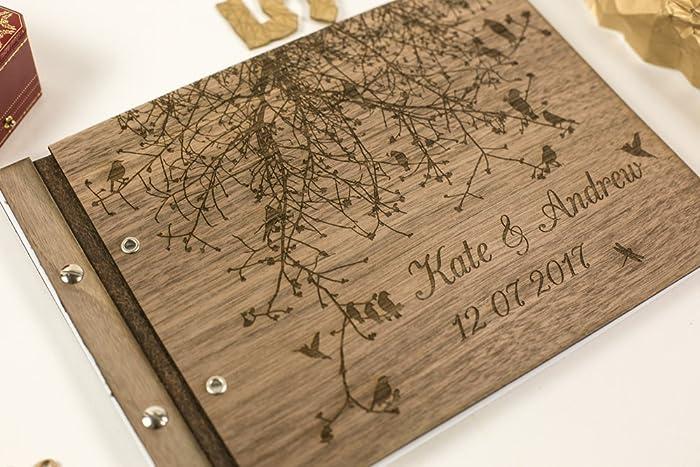 dedbede3f85cb Amazon.com: Rustic wooden guest book - personalized wedding book ...