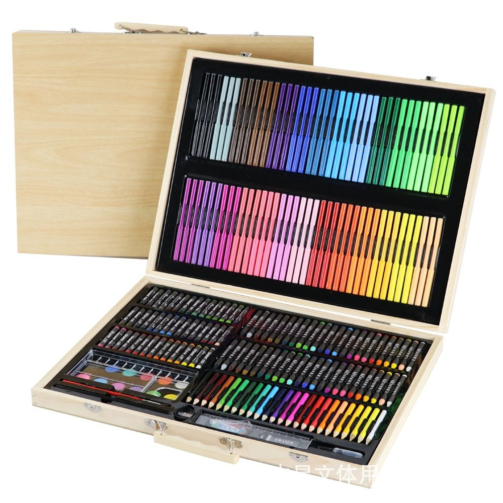 Artist art drawing set, Art Supply Wood Luxury Artist Painting Set, Paint And Accessories Painting Inspiration Art Case Pink, Portable Art And Coloring Supplies, 245 Pieces, Children's Gifts Gifts for