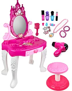 Kiddie Play Pretend Play Kids Vanity Table And Chair Beauty Play Set With  Fashion U0026 Makeup