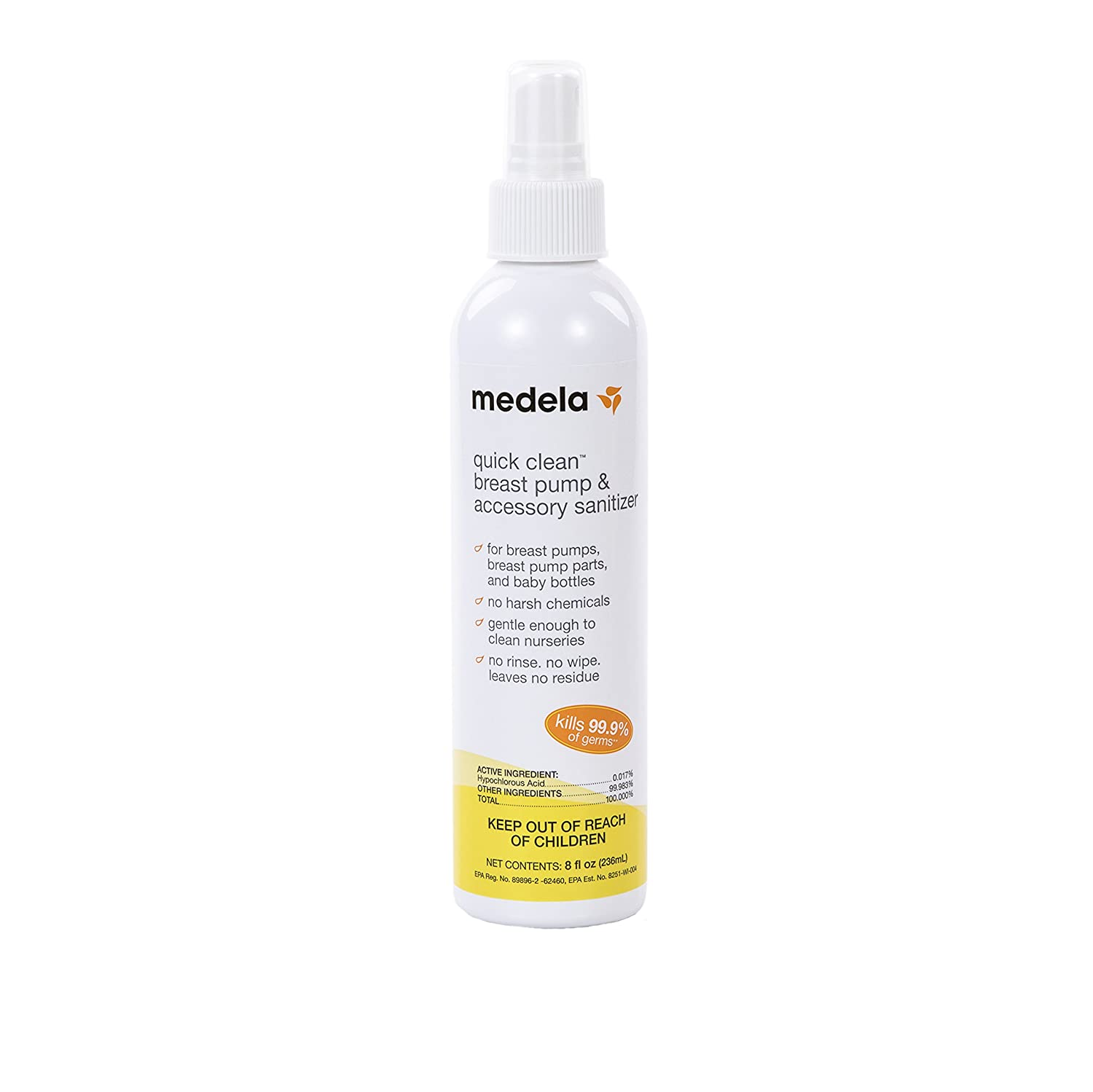 Medela Quick Clean Breast Pump and Accessory Sanitizer Spray, 8 fluid ounce bottle, Eliminates 99.9% of Bacteria and Viruses with a Safe, No-Rinse Solution Inc. 87246