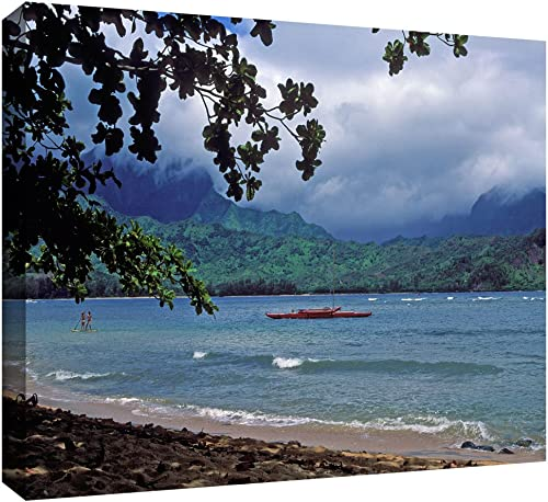 ArtWall Kathy Yates Red Canoe on Hanalei Bay Gallery Wrapped Canvas Artwork, 12 by 18-Inch