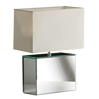 Premier Housewares Square Mirrored Glass Table Lamp With Cream Shade:  Amazon.co.uk: Lighting