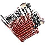 Pennelli Make Up Anjou Pennelli per il Trucco Set di 24 Pennelli Professionali per il Make-up, Eyeliner, Ombretto, Sopracciglia, Pennello per Fondotinta Liquido, Manico in Legno Pregiato