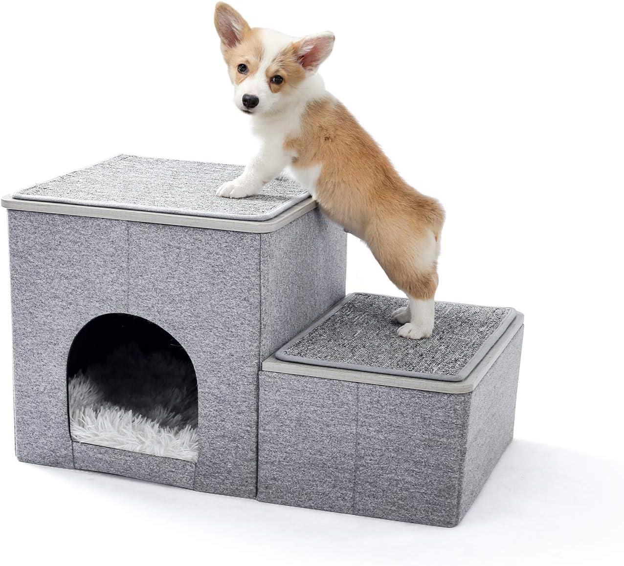 UMI. by Amazon escaleras para Perros pequeños 2 Pasos, Escaleras Plegables et multifuncionales para Cama o automóvil con casa & Caja de Almacenamiento, rampa Escalera para Gatos Perros Gris