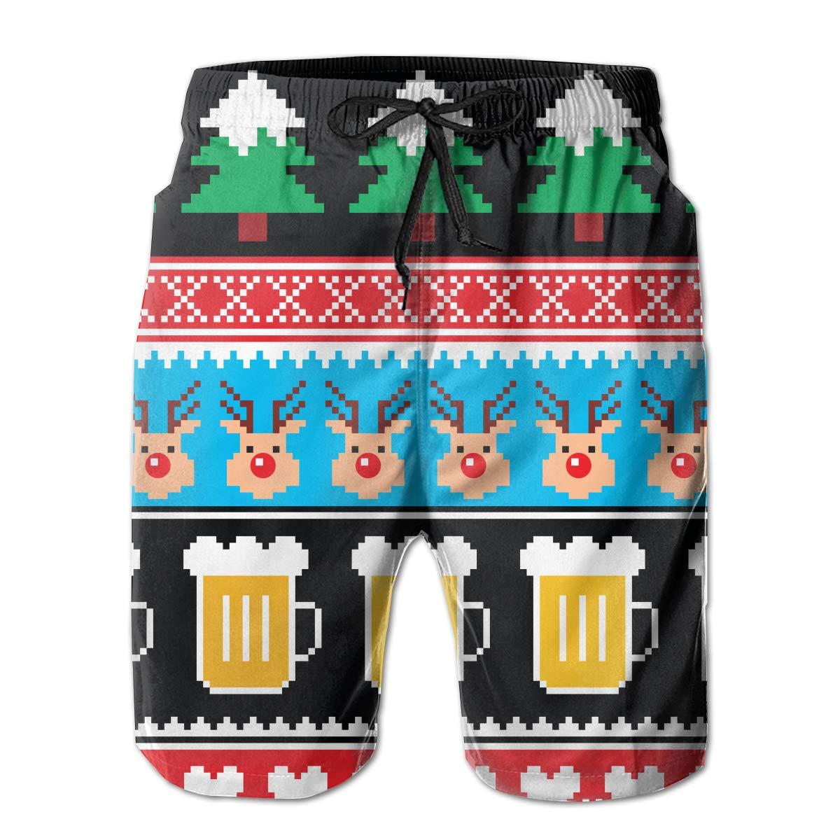 FRS Ltd Christmas Beer Mens Quick Dry Swim Trunks Beach Board Short Mesh Lining Summer Sports Running Shorts
