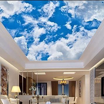 Lmopop Papiers Peints De Plafond 3d Nature Bleu Ciel Blanc Nuages