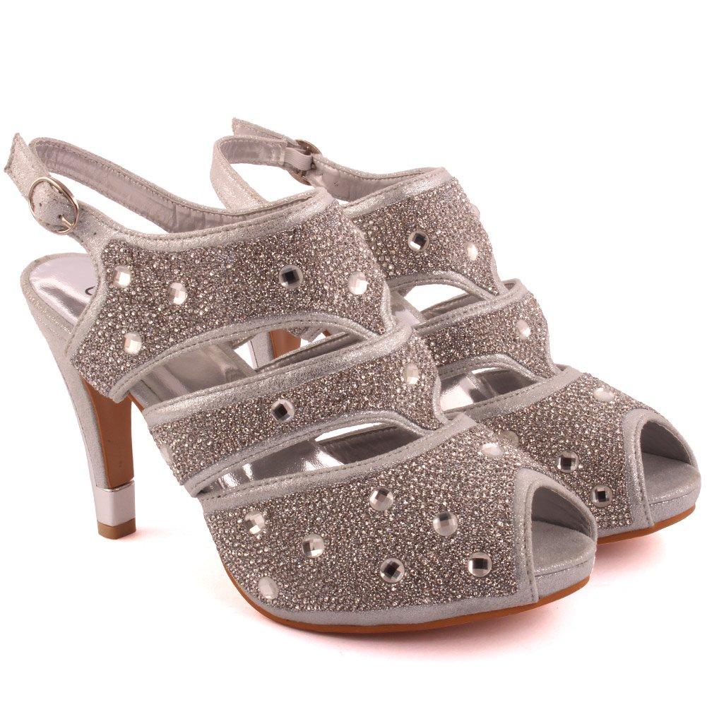 Unze Frauen Damen Naetta 'Crystal Diamante Abend, akzentuierte Niedrig Mid Stiletto Heel Abend, Diamante Hochzeit, Party Sandale Highheels Schuhe Größe 3-8 - 178-F-1 Silber 8f98fe