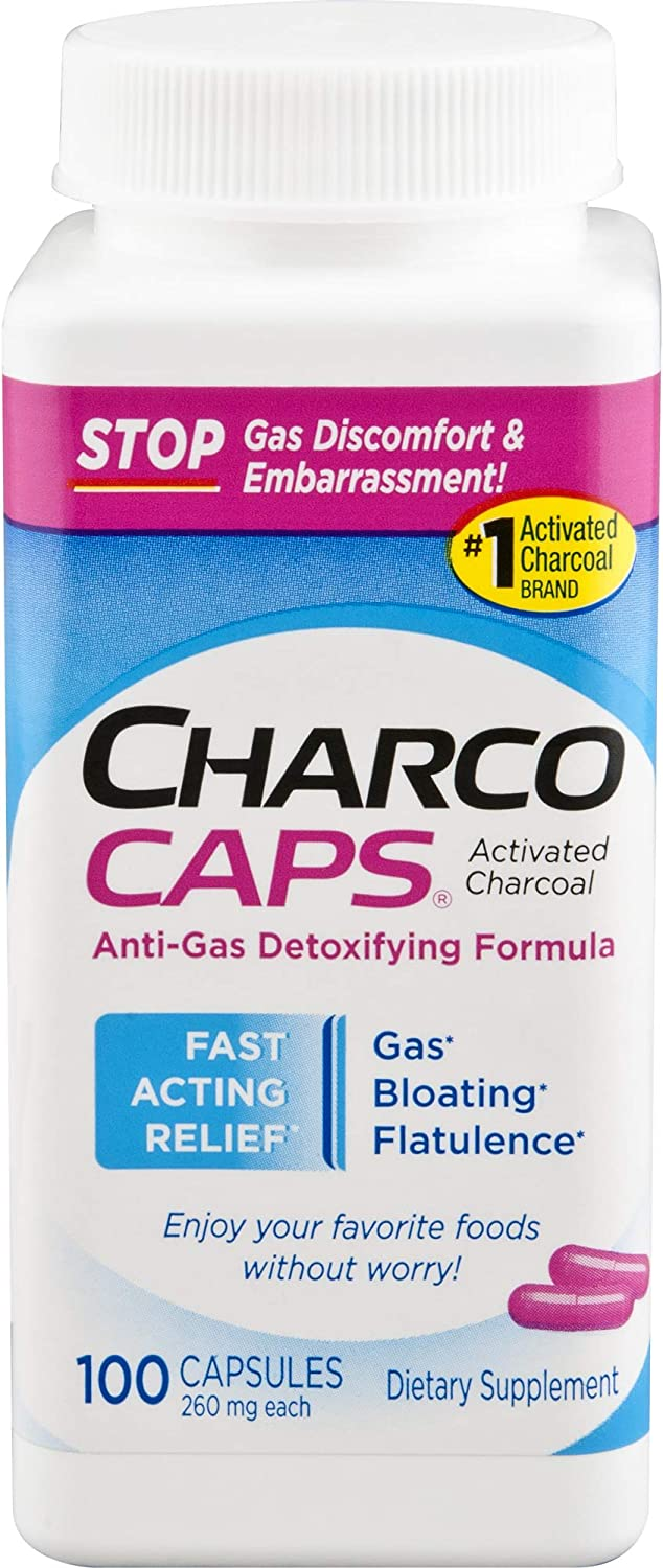 CharcoCaps Activated Charcoal Detox & Digestive Relief, 260mg, 100 Capsules: Health & Personal Care