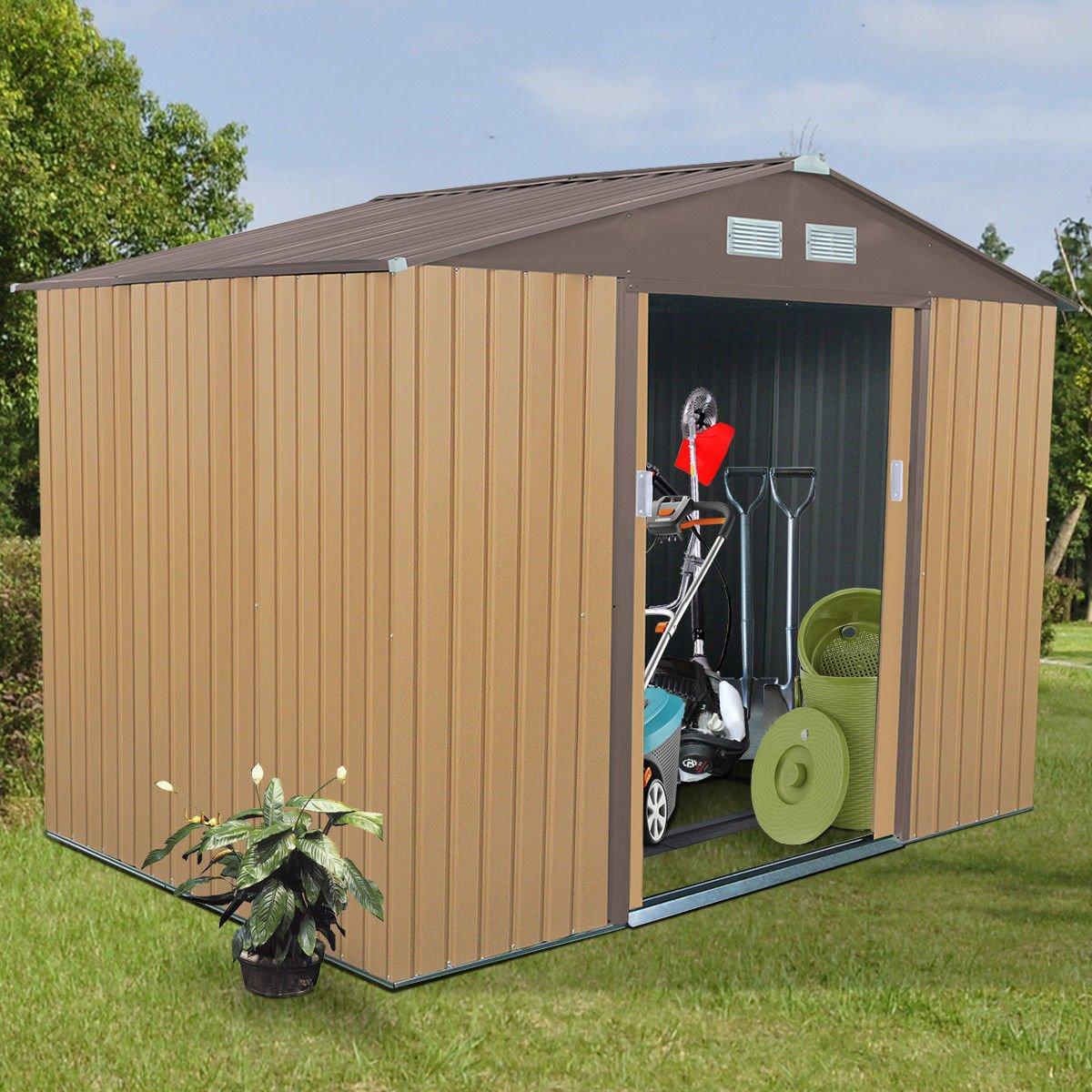 9' X 6' Outdoor Garden Storage Shed Tool House Sliding Door Steel Khaki New by tamsun (Image #1)
