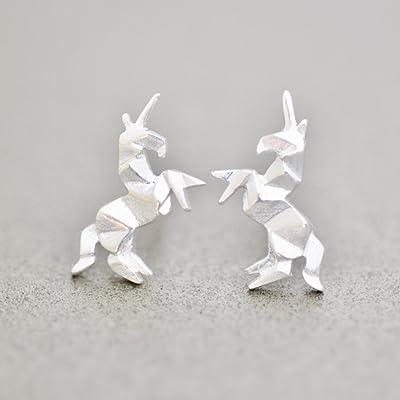 Origami Unicorn Earrings in Sterling Silver - Jamber Jewels