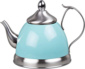 Creative Home 77073 1.0 Qt. Nobili-Tea Stainless Steel Tea Kettle with Removable Infuser Basket, Aqua Sky