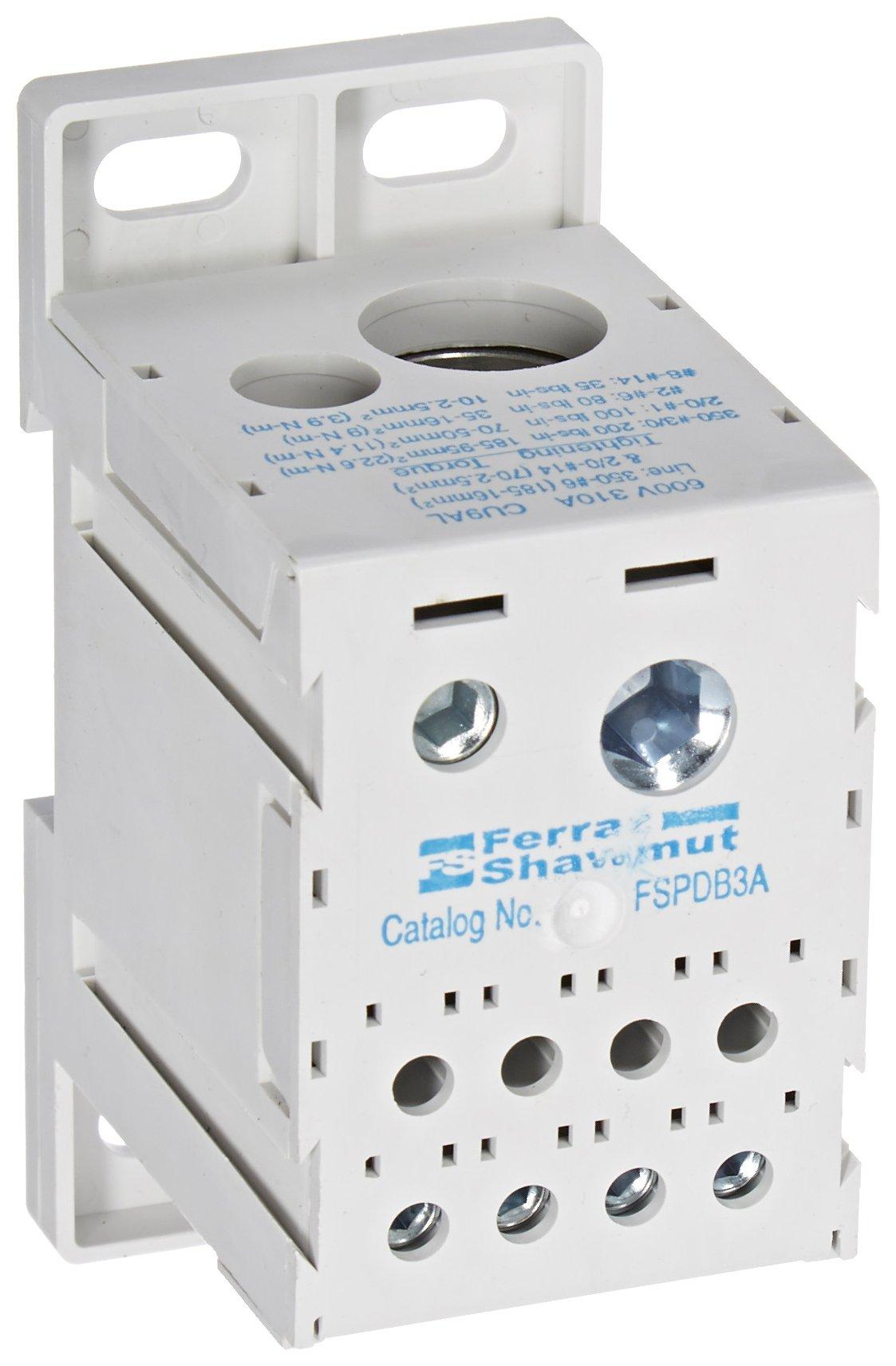 Mersen FSPDB3A Aluminum Finger-Safe Power Distribution Block, 600VAC/DC, 100kA, 310 Ampere, 3-31/32'' Length x 2-17/32'' Width x 1-27/32'' Height
