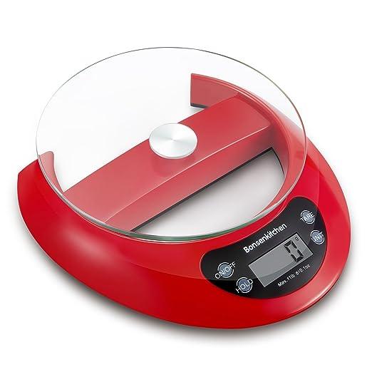 Bonsenkitchen Multifunción Balanza de Cocina escala de alimentos para cocinar y hornear con función de tara, 5 kg 11 lb, sistema de sensor de alta precisión ...