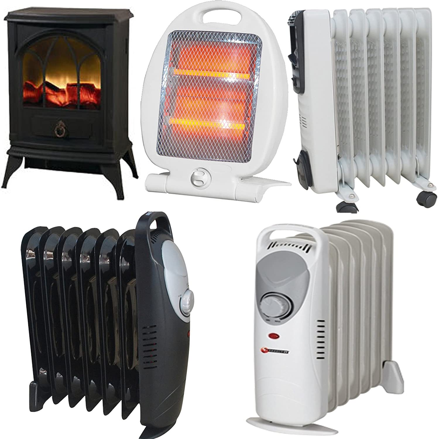 600W/700W/800W/1500W/2000W Fins Electric Oil Filled Radiator Heater 3 Heat Setting Thermostat Home & Office Heaters (800W Quartz Electric Heater) FunkyBuys