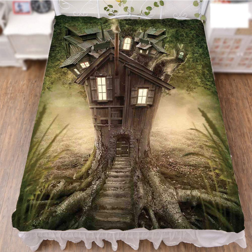 iPrint Bedding Duvet Cover Set 3D Print,House in Mysterious Forest with Windows Smoke,Fashion Personality Customization adds Color to Your Bedroom. by 70.9''x78.7''