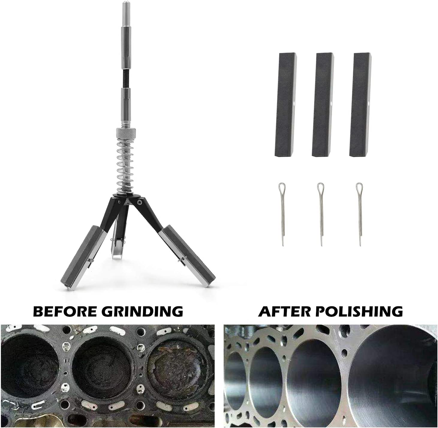 Engine Cylinder Hone Adjustable Deglaze Set for Grinding Holes from 1 1//4 to 3 1//2 ID with 3 Pieces 220 Grit Stones