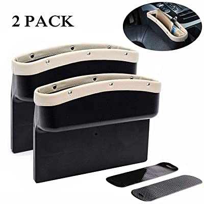 KONGDY Car Seat Pockets 2 Pack PU Leather Car Seat Gap Filler Console Side Organizer Storage Box for Car Interior Accessories Cellphone Wallet with Non-Slip Mat(2 Pack,Beige): Automotive