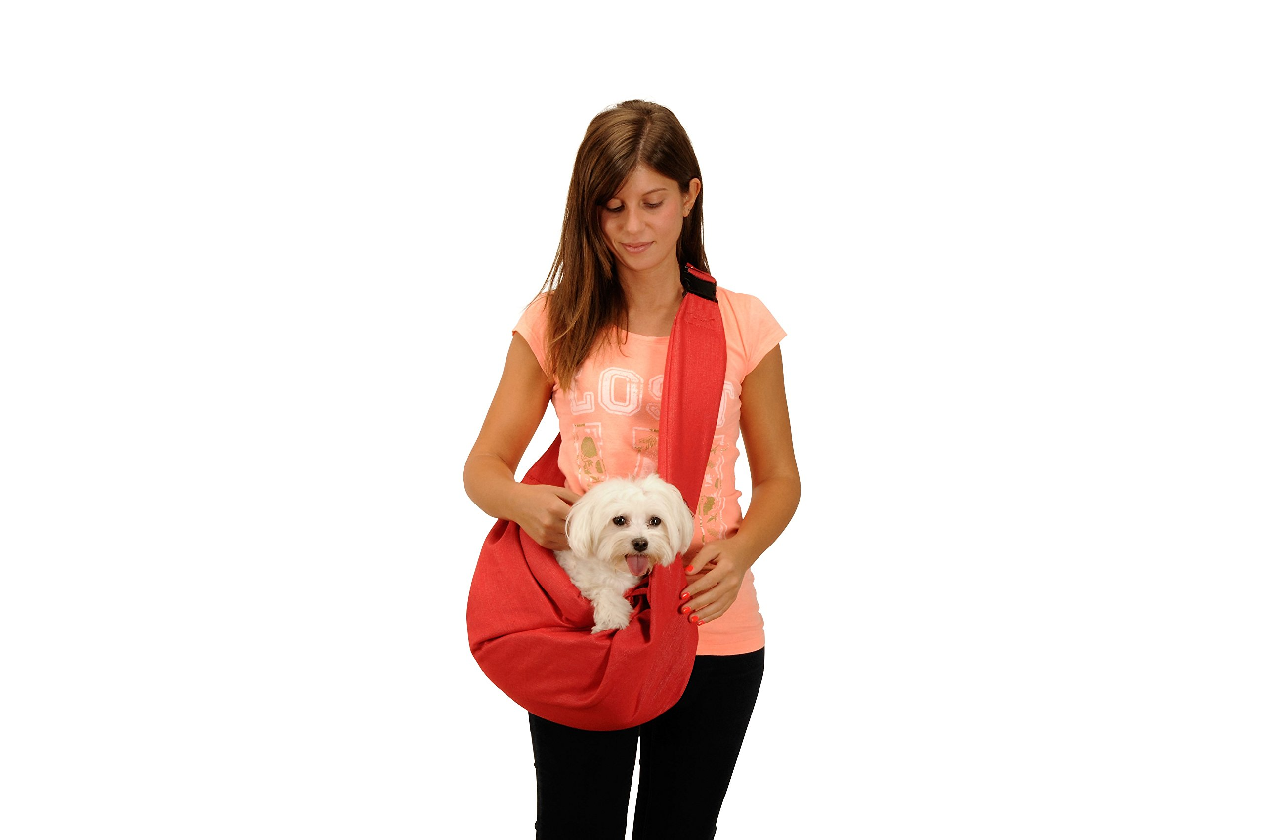 ''Denim'' pet shoulder bag Pet Sling Carrier Pet Tote Cat Dog Small Animal Pet Sling Messenger Style Pet Travel Carrier (RED)